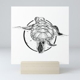 Turtle Ink Drawing Mini Art Print