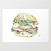burger Art Prints featuring burger by Sarah James