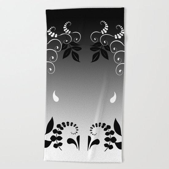 Black and white floral portrait Beach Towel