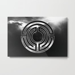 Modern Dark Minimalist Design with Mystic Circle Symbol Metal Print