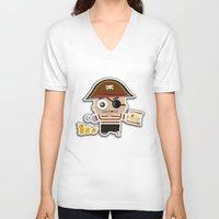 pirate V-neck T-shirts featuring PIRATE by AnishaCreations