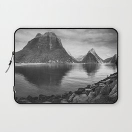 Milford Sound Panorama in black and white Laptop Sleeve