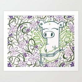 Fairy God Pig Art Print