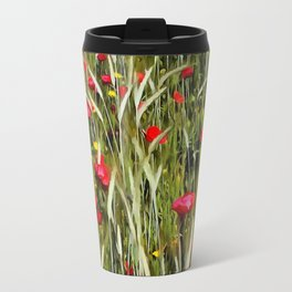 Red Poppies In A Cornfield Travel Mug