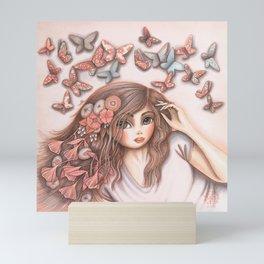 Paper Butterflies with girl Mini Art Print