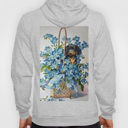 Dachshund and Forget-Me-Nots Hoody