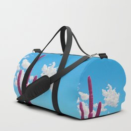 Pink Saguaro Against Blue Cloudy Sky Duffle Bag