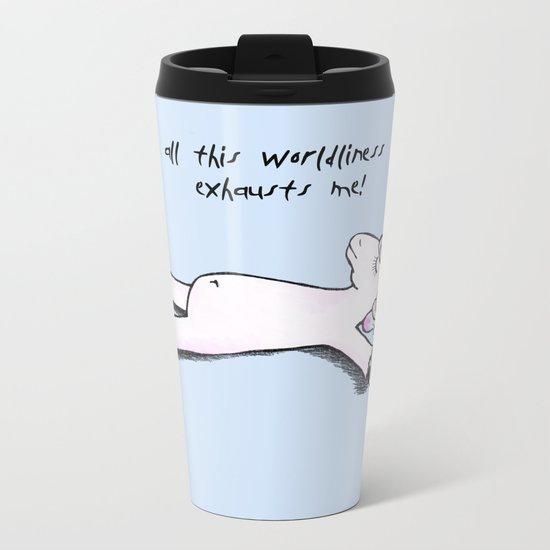 exhausted unicorn (blue) Metal Travel Mug