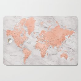 """Rose gold and marble world map with cities, """"Janine"""" Cutting Board"""