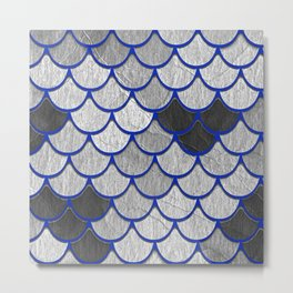 Dragon Scales with Blue Outline Metal Print