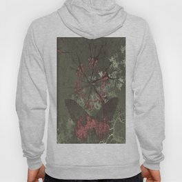 Little butterfly and the flower, pink, butterfly, love, gray, flower Hoody