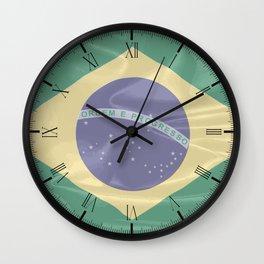 Brazil Silk Flag Wall Clock