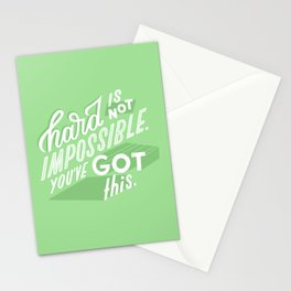hard is not impossible Stationery Cards