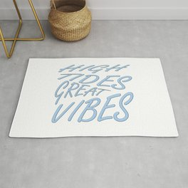 High Tides Great Vibes Summer Surf Text Rug