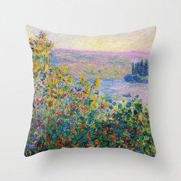 12,000pixel-500dpi - Claude Monet - Flower Beds at Vetheuil Throw Pillow