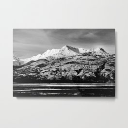 Black and White Mountain Photography Print Metal Print