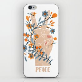 Peace Sign With Orange Flowers, Blue Flowers And Vines iPhone Skin
