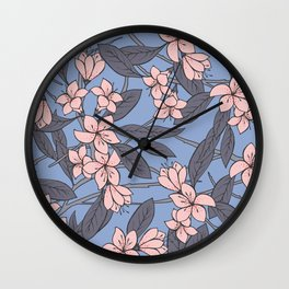 Sakura Branch Pattern - Rose Quartz + Serenity Wall Clock