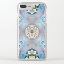 Blue Stone Abstract Design Clear iPhone Case