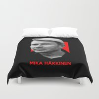 formula 1 Duvet Covers featuring Formula One - Mika Hakkinen by Vehicle