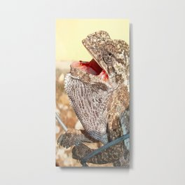 A Chameleon With Open Mouth Metal Print