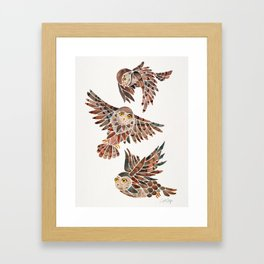 Owls in Flight – Brown Palette Framed Art Print
