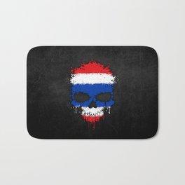 Flag of Thailand on a Chaotic Splatter Skull Bath Mat