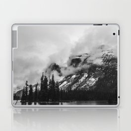 Smokey Mountains Maligne Lake Landscape Photography Black and White by Magda Opoka Laptop & iPad Skin