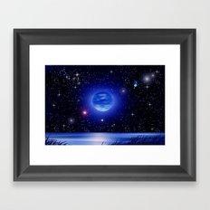 Blue moon over the ocean. Framed Art Print