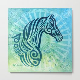 Tribal Tattoo Style Horse with Watercolor Background Metal Print