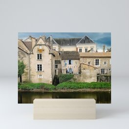Houses by the river Mini Art Print