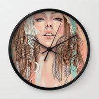 dreamcatcher Wall Clocks featuring Dreamcatcher by Chelsea Hantken