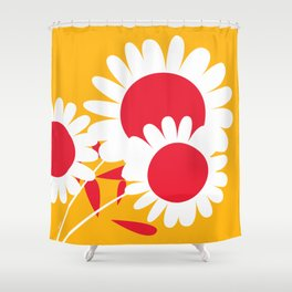 Flowers on Yellow by Friztin Shower Curtain