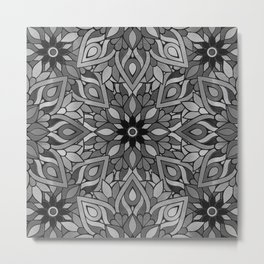 Grey Black Mandala Pattern Metal Print