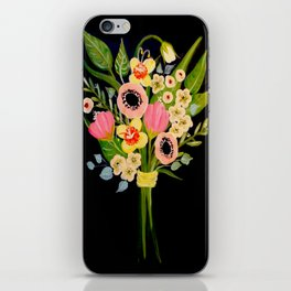 Floral Bouquet on Black Background iPhone Skin