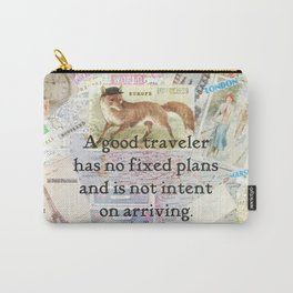 Travel quote with vintage travel illustrations Carry-All Pouch