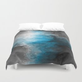 Blue Gray and White Marble Abstract Duvet Cover