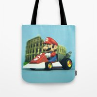 mario kart Tote Bags featuring Super Mario: the homecoming by josemanuelerre