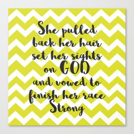 She Pulled Back her Hair (Chevron Chartreuse) Canvas Print