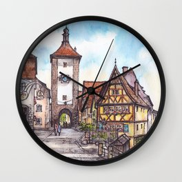 Rothenburg - ink and watercolor illustration Wall Clock