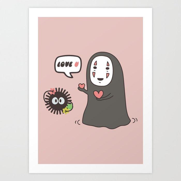 Studio Ghibli No-Face in Love of SootBall Art Print