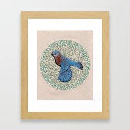 Embroidered bird Framed Art Print