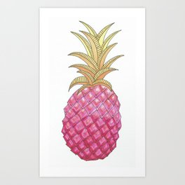 Ombre Pink Illustrated Pineapple Art Print