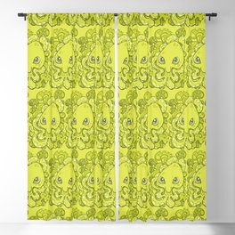 Happy Octopus Squid Kraken Cthulhu Sea Creature - Lime Punch Green Blackout Curtain