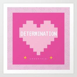 Pink Kawaii Undertale Determination pixel heart Art Print