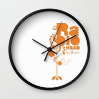 "radiohead Wall Clocks featuring Radiohead ""Last flowers"" Song / Orange version by LilaVert"