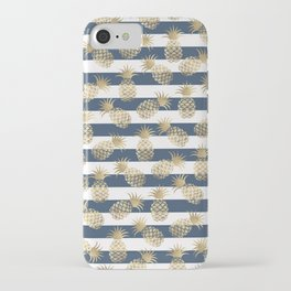 Modern nautical navy blue stripes faux gold pineapple iPhone Case