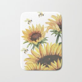 Sunflowers and Honey Bees Bath Mat