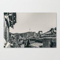 seoul Canvas Prints featuring Seoul Cityscape by Jennifer Stinson
