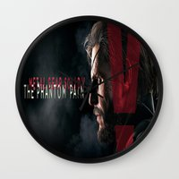 metal gear solid Wall Clocks featuring metal gear solid V  , metal gear solid V  games, metal gear solid V  blanket by Eirarose